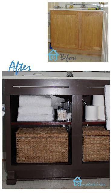 Builder 39 s grade vanity revamp open shelving furniture for Builder grade oak kitchen cabinets