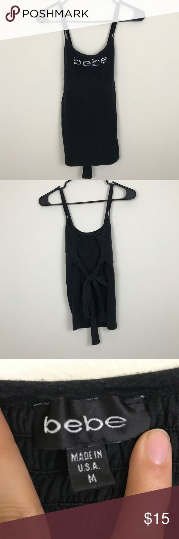 Bebe Black Rhinestone Camisole Tank In good condition; all rhinestones are intact▪️Size Medium▪️ Fabric content unknown, tag was ripped. Feels like 100% Cotton▪️ bebe Tops Camisoles