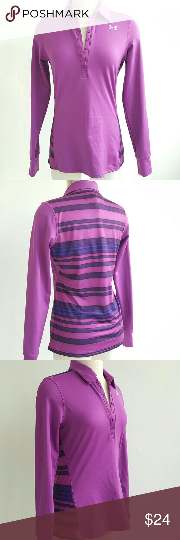 Under Armour Purple Long Sleeve Top Gentle used and perfect for any sport activities,  purple top with strappy pattern on the back . Excellent condition Under Armour Tops Tees - Long Sleeve