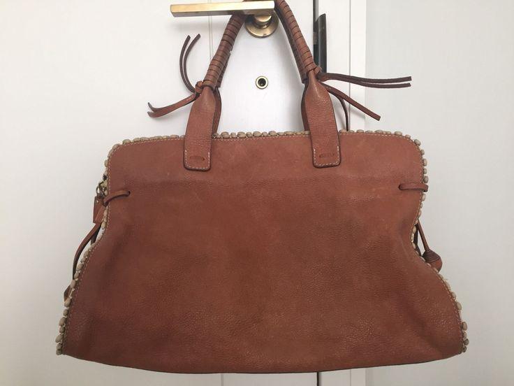 Anya Hindmarch Handbag Tan Distressed Leather Satchel Purse Beaded Trim Zip Top | eBay