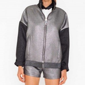 Metallic silver bomber jacket