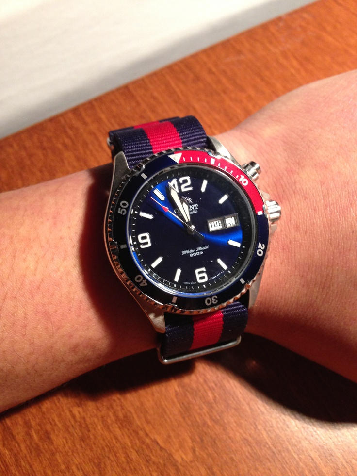 just got my nato band looks great on my orient mako pepsi blue nato band cost me 12 my. Black Bedroom Furniture Sets. Home Design Ideas