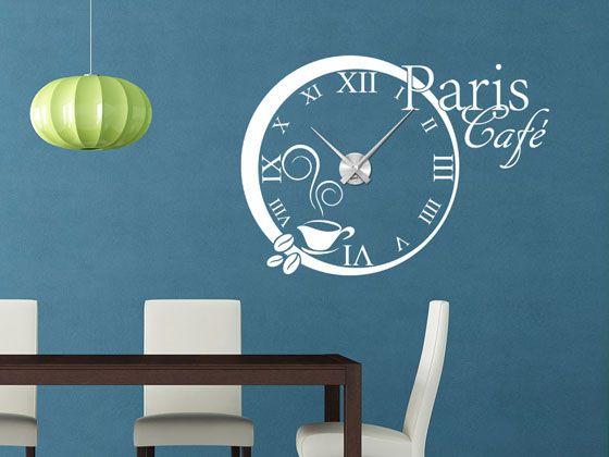 #Wandtattoo #Uhr mit #Uhrwerk #Wanduhr #Küche Paris Cafe Frankreich #Kaffee Zahlen