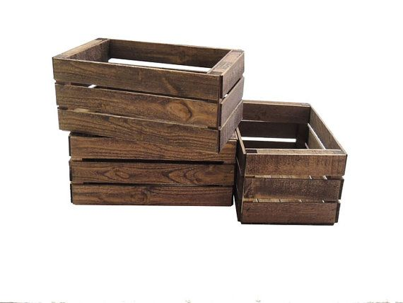 To create height differences on sweets table.  3 Small Wooden Crates Fully Assembled and Dyed Dark Brown