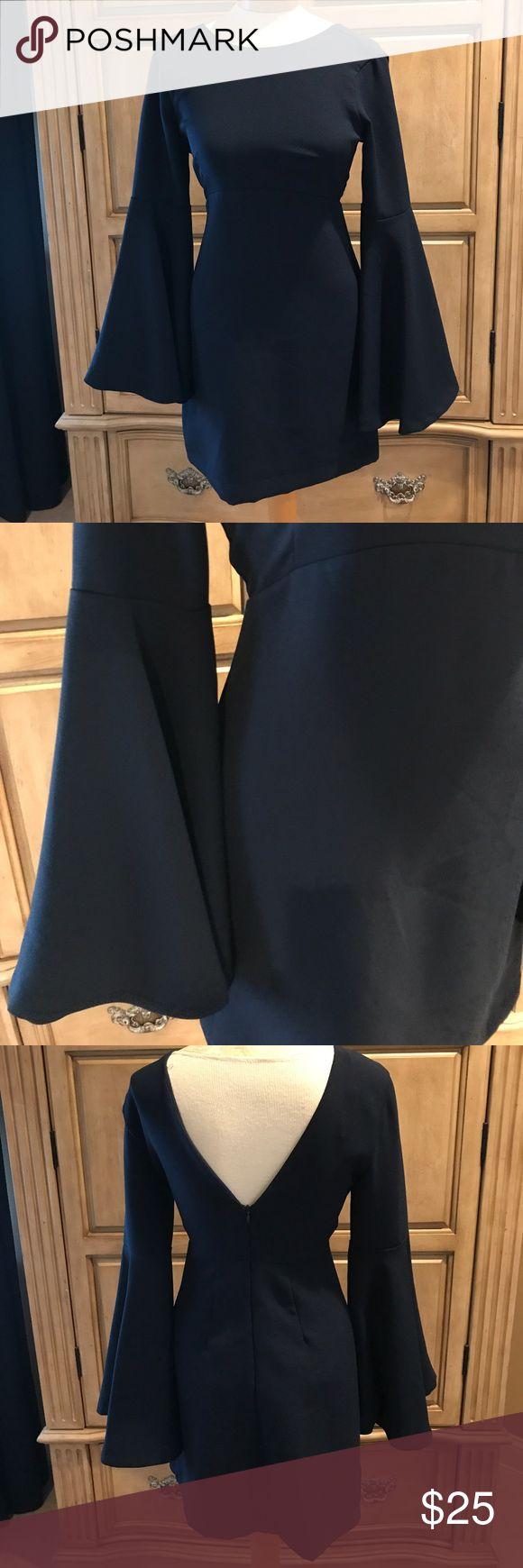 Zara- NAVY BELL SLEEVED TEA LENGTH DRESS ♥️ Navy occasion dress with bell sleeves. Never worn Zara Dresses Long Sleeve