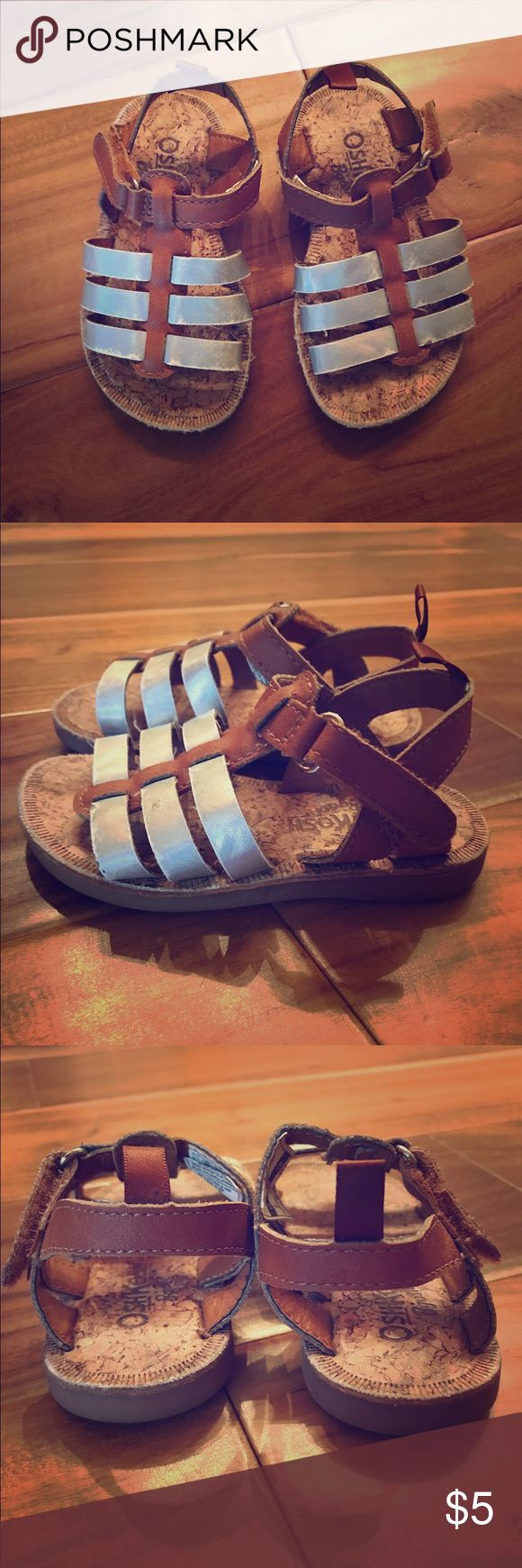 Cork sandals w silver and brown straps Velcro fastener, easy to put on Osh Kosh Shoes Sandals & Flip Flops