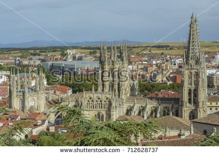 Panoramic view of historic city with Cathedral of Our Lady in the center, on August 27, 2017 in Burgos, Castile and Leon, Spain.