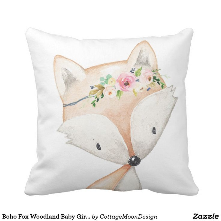 Boho Fox Woodland Baby Girl Nursery Floral Pillow