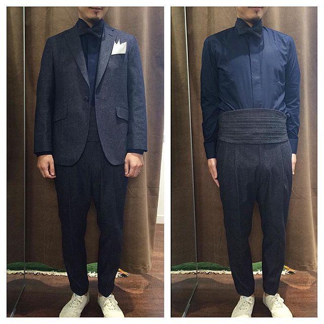 カジュアルな結婚式で着用するデニム新郎衣装,ネイビーデニムオーダースーツとカマーバンド