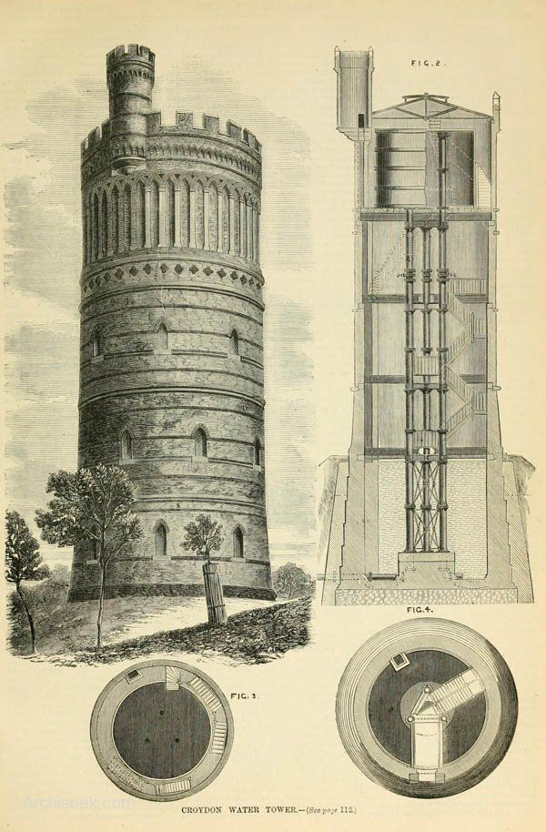 1867 - Croydon Water Tower, Surrey - Architecture of Surrey - Archiseek.com