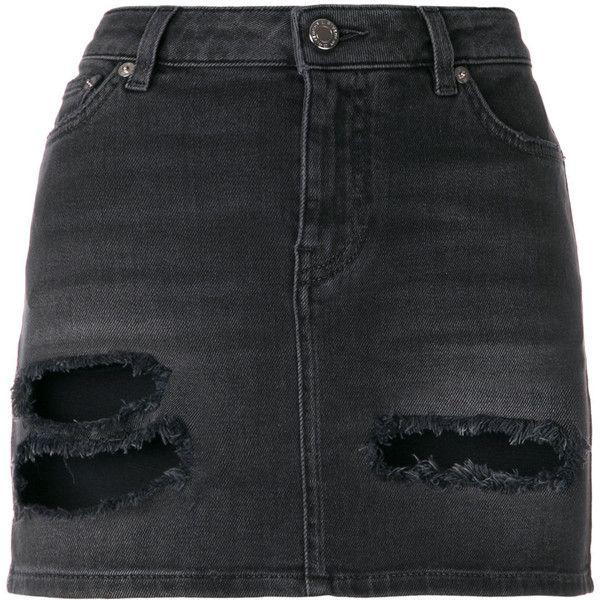 Givenchy distressed denim mini skirt ($690) ❤ liked on Polyvore featuring skirts, mini skirts, grey, grey skirt, givenchy, zipper mini skirt, zipper skirt and short miniskirt