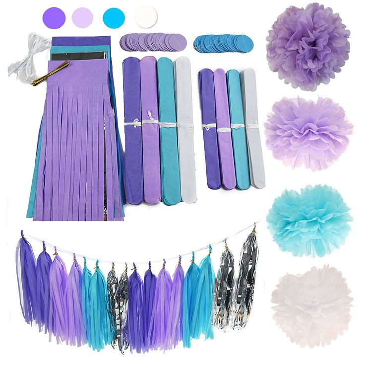 AmazonSmile: 26pcs Purple Lavender Baby Blue White Baby Shower Tissue Paper Pom Pom Paper Tassel Garland First Birthday Decorations Purple Bridal Shower Decorations Snow or Sea Theme Party Decor: Toys & Games