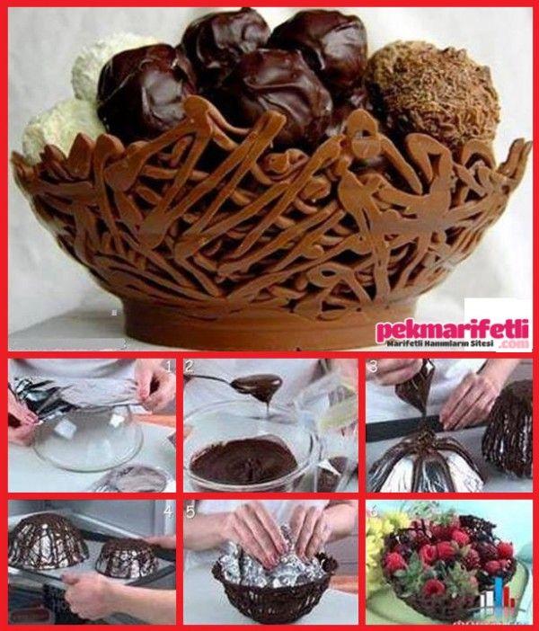 Çikolatadan kase yapımı