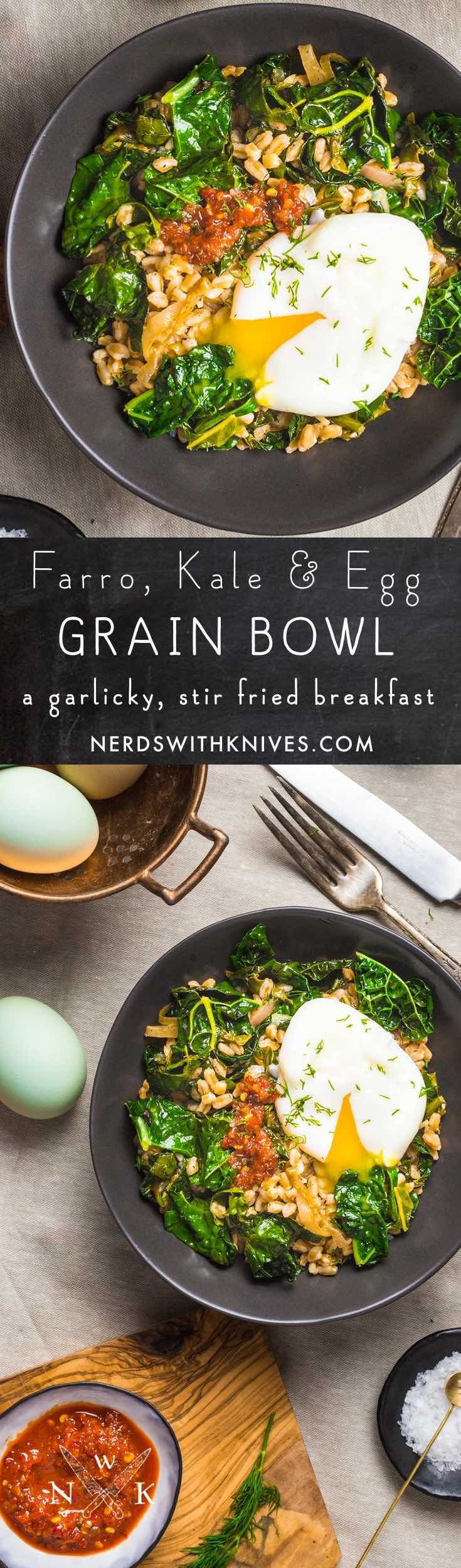 Tender stir fried farro, garlicky sautéed kale, and a perfectly poached egg. This simple, healthy grain bowl is packed with everything you need to start your day off right.