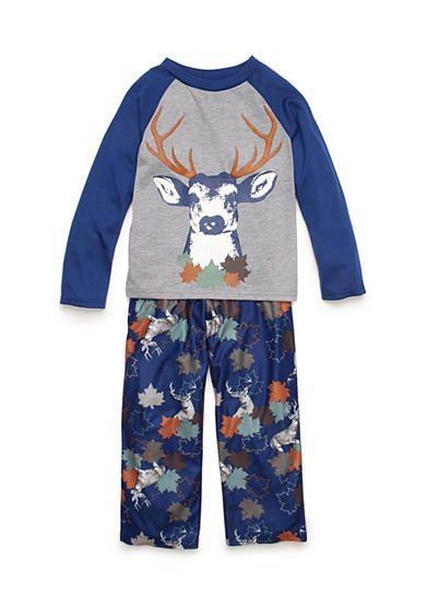J Khaki™ 2-Piece Long Sleeve Deer and Leaves Pajama Set Boys 4-20