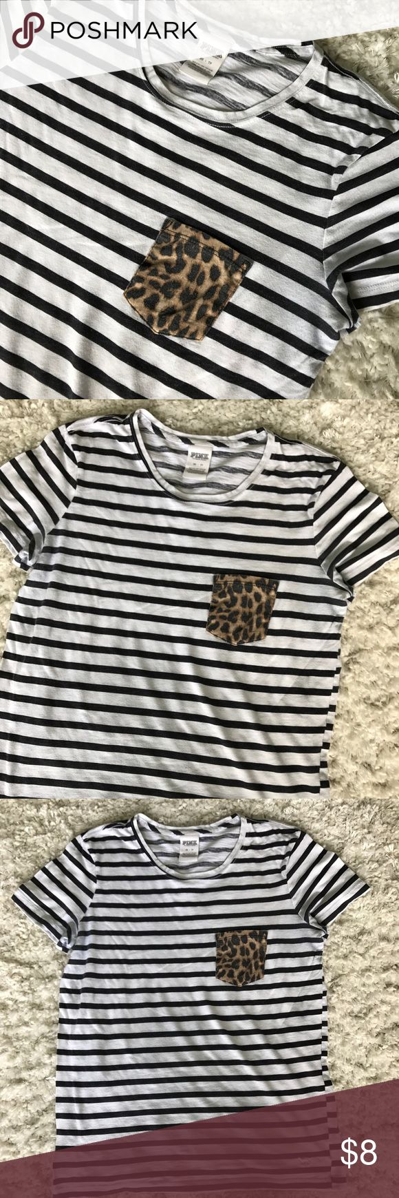 Pink VS Striped/Cheetah Print Shirt Size XSmall, colors are black and white  stripes with cheetah print pocket, no rips, no stains, color faded from normal wash/wear PINK Victoria's Secret Tops Tees - Short Sleeve