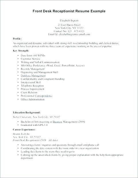 Resume For Hotel Sample Clerk Receptionist Front Desk Resumes Medical