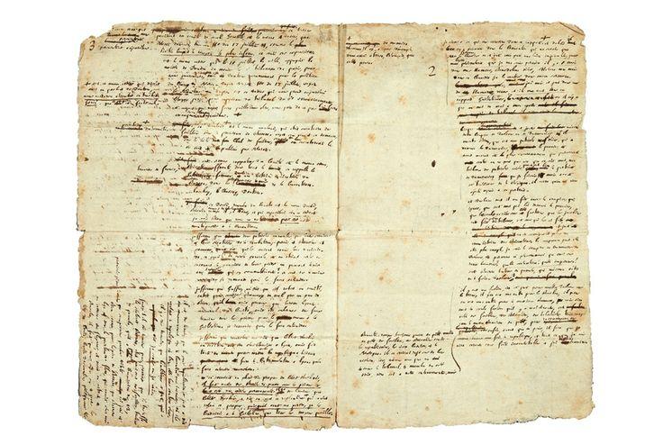 """Camille Desmoulins : """"Je n'ai que quelques heures pour défendre ma vie"""" - Le 1er avril 1794, Camille Desmoulins, depuis sa prison, écrit sa plaidoirie contre le rapport accusatoire de Saint-Just. Cet exceptionnel manuscrit, qu'il aurait jeté à la tête des accusateurs qui refusaient de l'entendre, fut retrouvé, plus tard, parmi les papiers de Robespierre.Marion Cocquet   © Pierre Bergé & associés"""