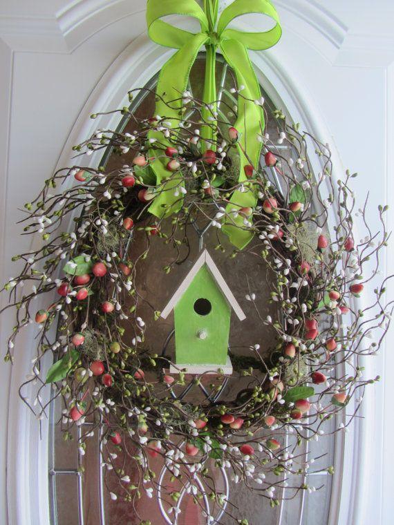 Spring Wreath - Birdhouse Wreath - Berry Wreath - Door Decor. $62.95, via Etsy.