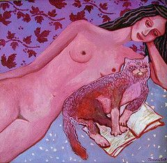 21. Purple nude with a cat, 15.8x15.8inch=40x40cm (Ivona Torovin) Tags: original woman art beautiful female cat painting nude manchester reading book artist akt body folk canvas painter oil iwona kot lithuania vilnius obraz poznan ksika czytanie ivona kobieta wilno aktas daile katinas kunas malarstwo tapyba moteris ciao ludowy knyga paveikslas skaitymas olejny dailininke torovin