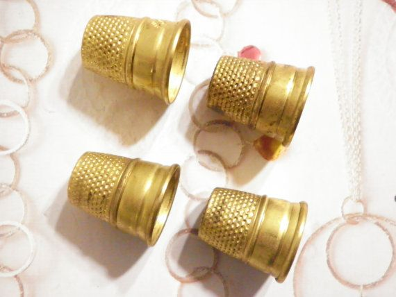 4 Vintage Brass Lillian Vernon Sewing Thimbles -- love the color!