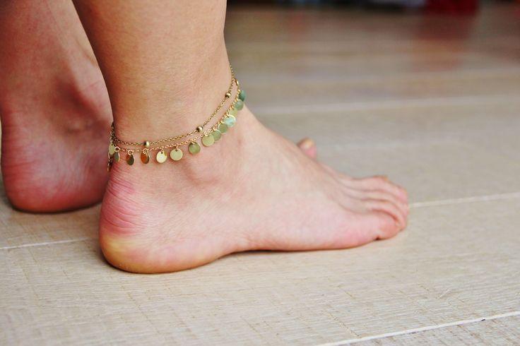 bracelet de cheville sequins en laiton, idée cadeau, bijou ethnique chic, boho, bohême : Bracelet par myo-jewel