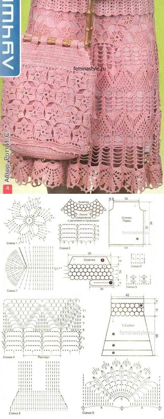 ажурная юбка елочка спицами схемы описание