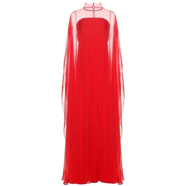 Valentino Silk Gown (10 000 AUD) ❤ liked on Polyvore featuring dresses, gowns, cocktail/gowns, red, holiday dresses, evening cocktail dresses, evening dresses, evening ball gowns and silk evening dresses