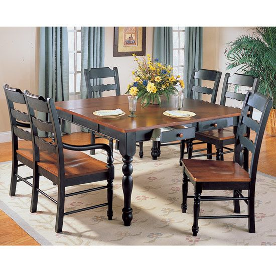 Black formal dining sets sedgefield black and cherry for Cherry formal dining room sets