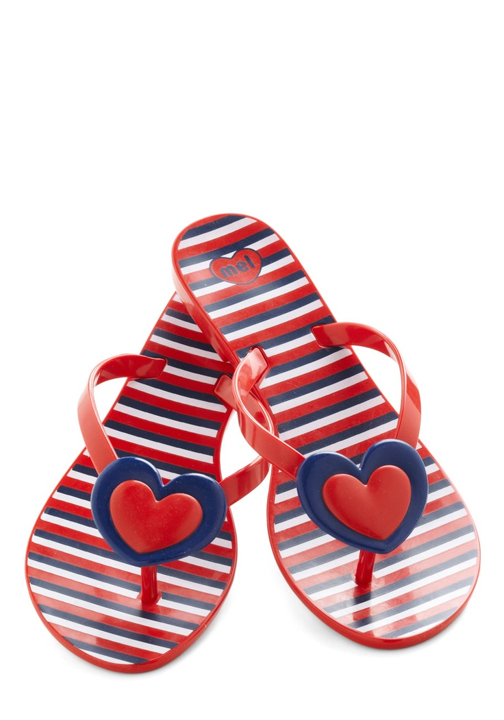 One Amour Day Sandal by Mel Shoes - Red, Blue, White, Stripes, Nautical, Flat, Casual, Beach/Resort, Summer