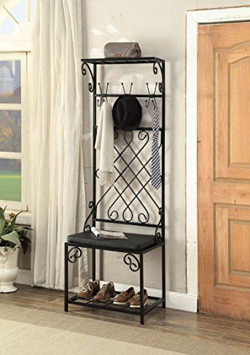 Black Metal and Bonded Leather Scroll Design Entryway Shoe Bench with Coat Rack Hall Tree Storage Organizer 12 Hooks
