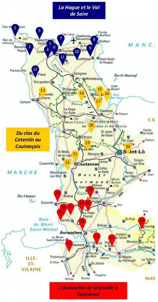 Map showing the gardens on the Cotentin Peninsula of Normandy
