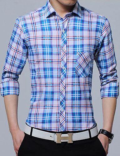 Hombre Tejido Oriental Casual Primavera Otoño Camisa,Cuello Camisero Ajedrez Manga Larga Poliéster Fino 5993322 2017 – $41.272