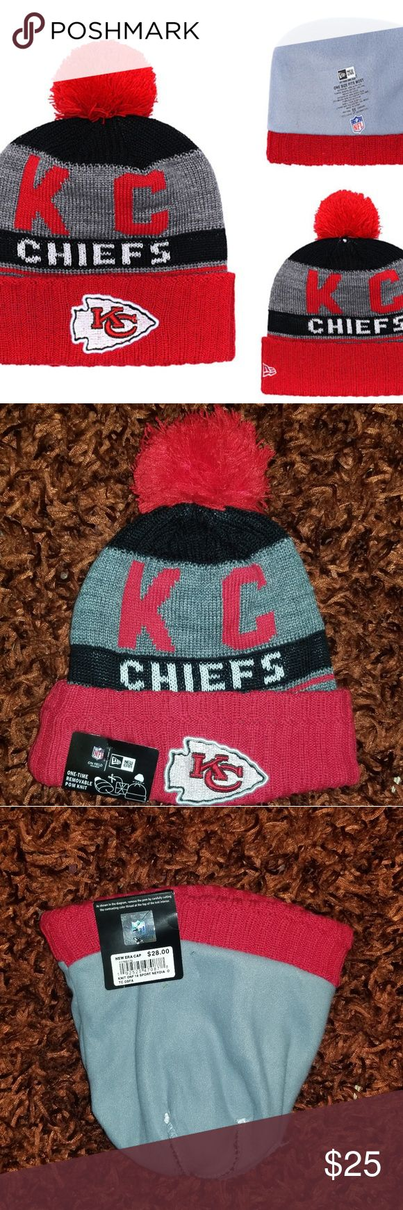New Era Kansas City Chiefs Cuffed Knit Hat Brand new  Never used  Same bussiness day shipping Perfect holiday gift for your friend, boyfriend or husband Check my profile to see what I have for sale thank you  Hablo español Football hat beanie New Era Accessories Hats
