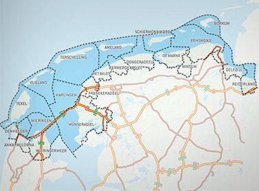 Waddenwandelen een netwerk van 1200 km aan gemarkeerde wandelroutes in het Waddenzee gebied.