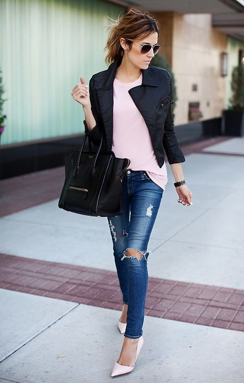 blush + black + denim  ~ 60 Great Fall - Winter Outfits On The Street - Style Estate -