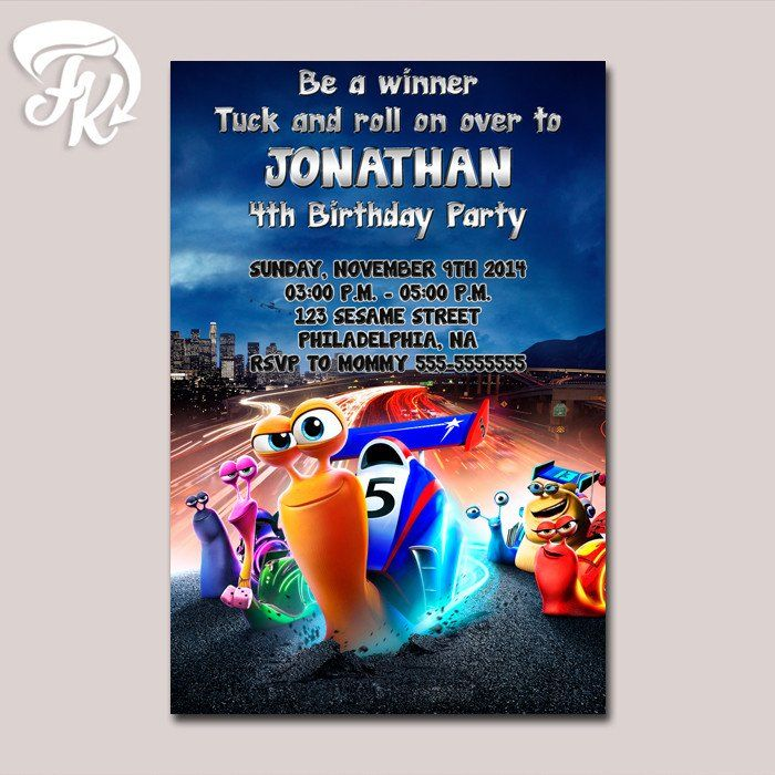 design birthday party invitations free%0A Be a Winner Turbo Birthday Party Card Digital Invitation