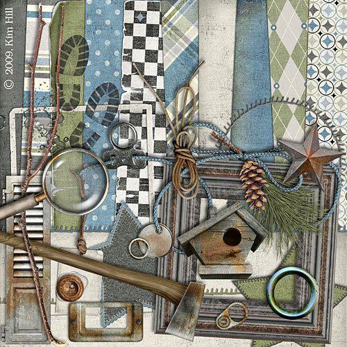 "Woodsy Digital Scrapbook Kit - ""Benjamin"" digiscrap kit has earthy colors (green, blue, gray) with woodsman elements for scrapbook layouts"