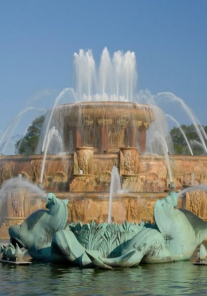 Buckingham Fountain flows all summer in Grant Park on Chicago's Lakefront, Chicago, Illinois by Hank Erdmann