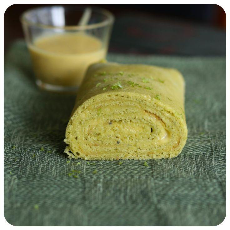 Bolo de Rolo de Chá verde e creme de maracujá sem glúten/lactose | Vídeos e Receitas de Sobremesas