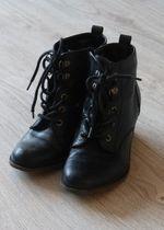Buty retro vintage czarne za kostke sznurowane 37