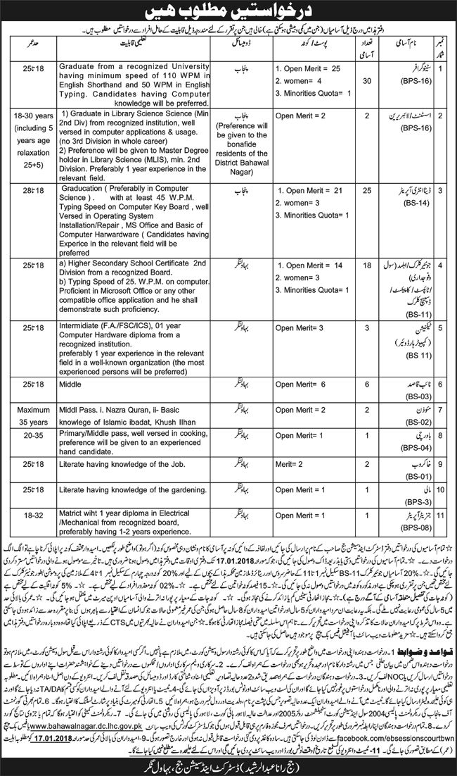 District And Session Courts Jobs 2017 In Bahawalnagar For Data Entry Operator And Librarian http://www.jobsfanda.com/district-session-courts-jobs-2017-bahawalnagar-data-entry-operator-librarian/