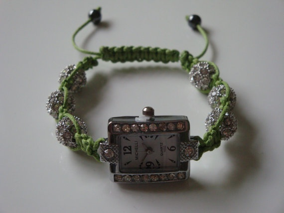 Lime Green Shamballa Watch by traceysjewellery on Etsy, £24.99