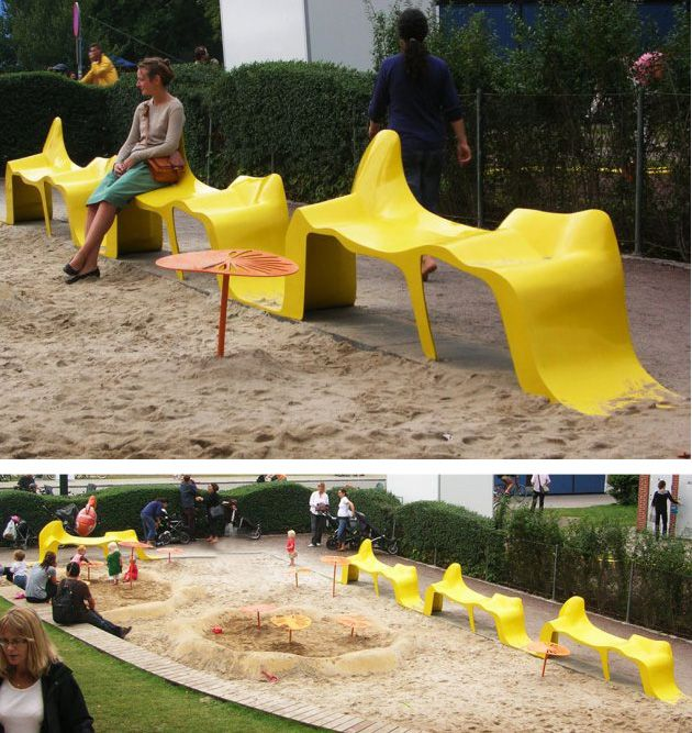 Swedish furniture manufacturer Nola has some photos of their Diagram bench installed at a park.