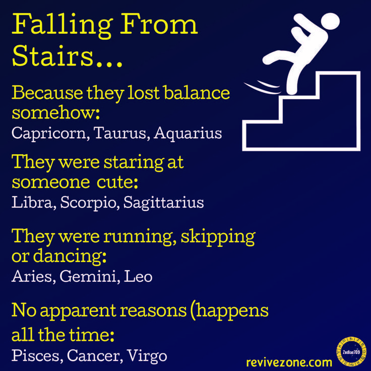 falling from stairs, zodiac signs, aries, taurus, …