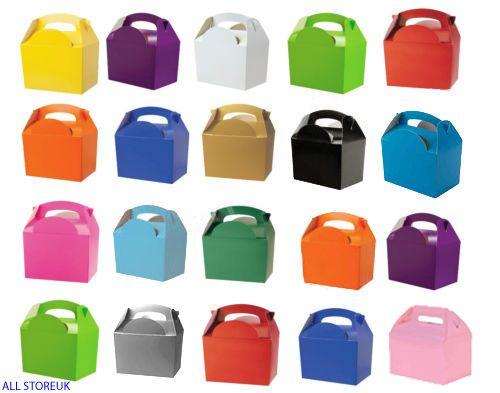 10 Childrens Kids Plain Colour Carry Food Loot Favour Birthday Party Bag Boxes