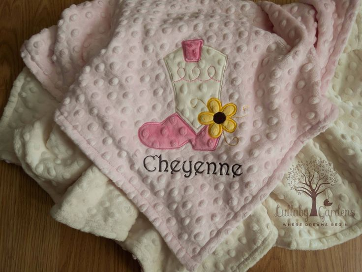 Cowgirl Boot Personalized Minky Baby Blanket, Personalized Minky Baby Blanket, Personalized Baby Gift, Appliqued Minky Baby Blanket by LullabyGardens on Etsy