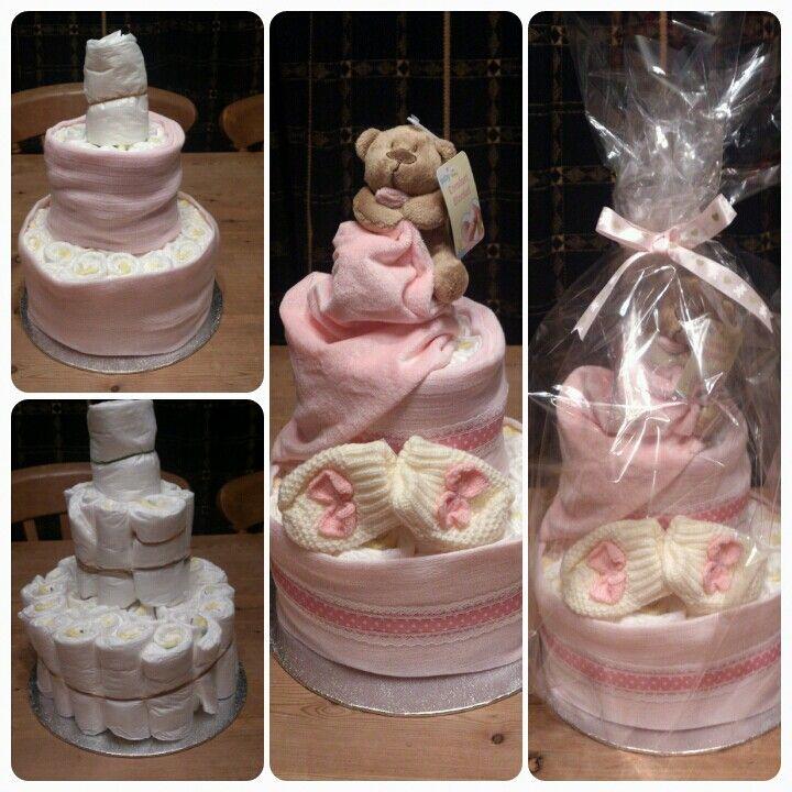 Pink baby girl handmade nappy cake
