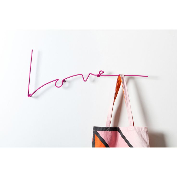 Wall Decor . Wall Hook / Coat Rack . Love - Neon Pink