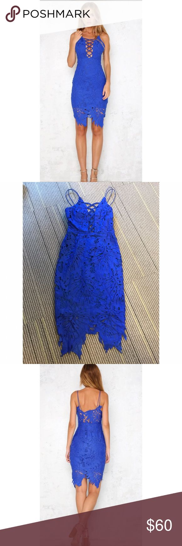 False Alarm Electric Blue Midi Dress False Alarm Midi Dress has a beautiful cut out front with criss-cross laces and supported elastic straps. Semi sheer lace back and an invisible viper on the side. True to size, partially lined. Model wearing XS. Dresses Midi